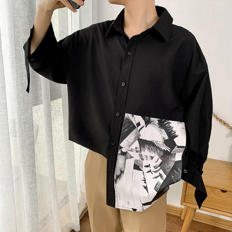 Men's Three Quarter Sleeve Abstract Painting Print Shirts Dress 5xl 2019 Autumn Hip Hop Streetwear Casual Shirt Men CS26