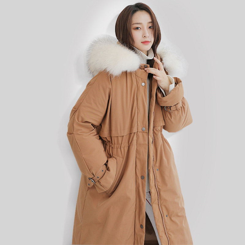 Large real raccoon fur collar hooded   down     coat   women slim waist thickening long   down   outerwear fashion jacket 2019 autumn winter