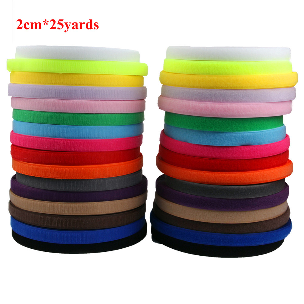 2cm*25 Yards 2 Roll No Self Adhesive Hook and Loop Magic Button Black White Adhesive Tape Patch Snap Fastener Sewing Accessories