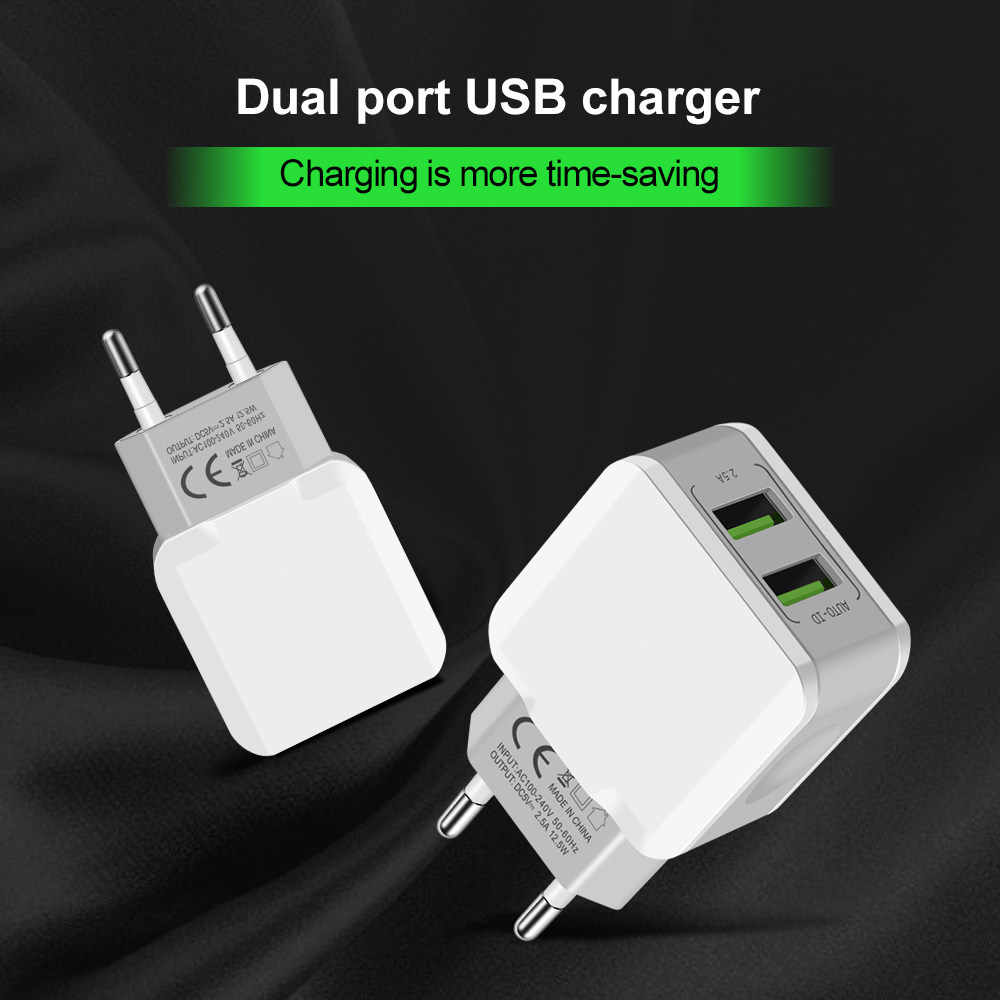 5V 2.5A Smart Travel Dual 2 USB Charger Adapter Wall Portable Fast EU Plug Mobile Phone Charger for iPhone Samsung Huawei Tablet