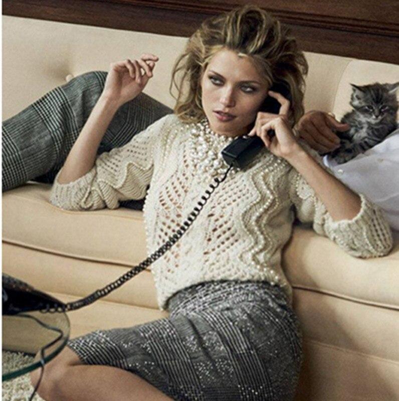 2017 mode o-cou précipité laine Pull femmes chandail haut de gamme personnalisé printemps nouveau pur main perlé Crochet creux alpaga cheveux