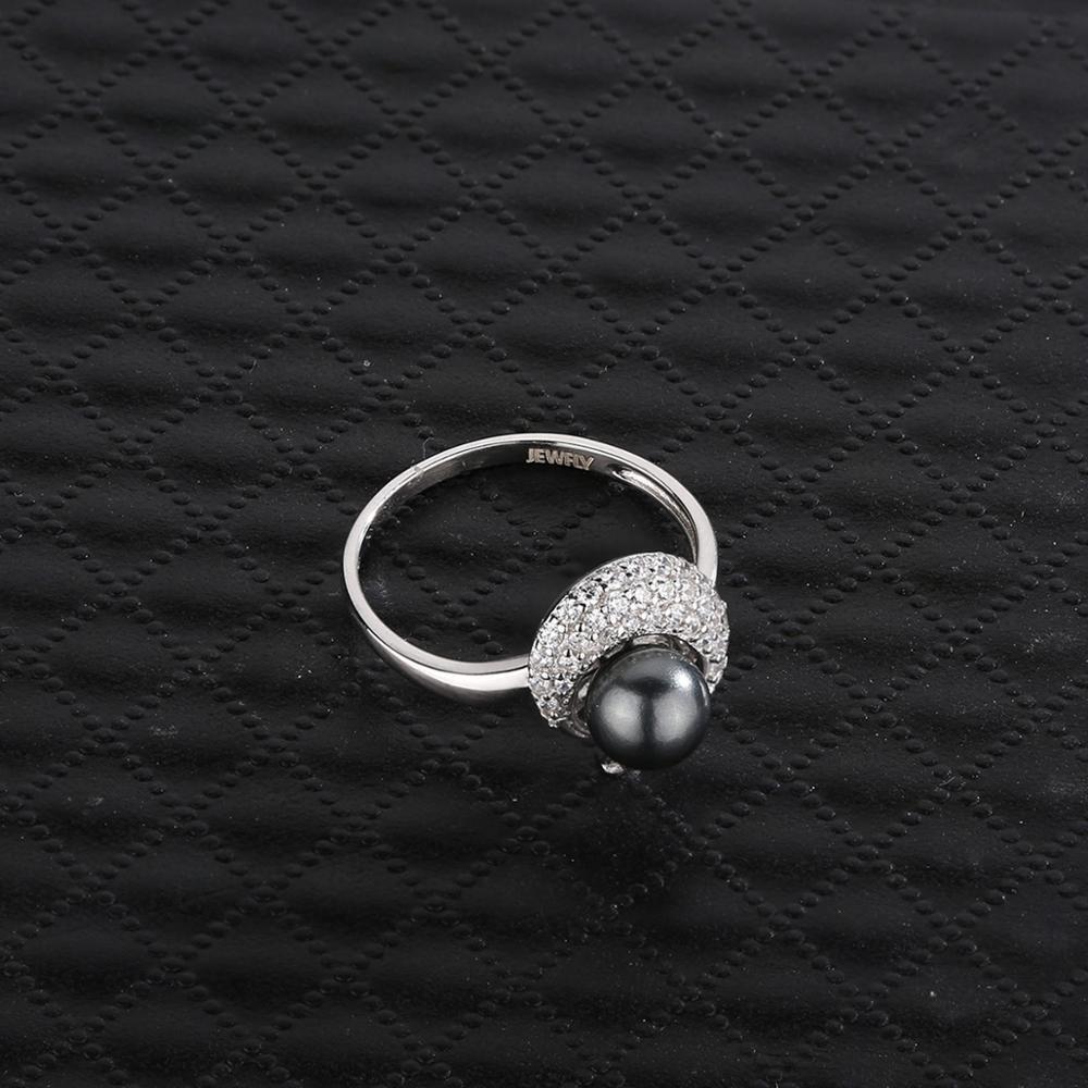 Bijoux 925 bague en argent Sterling perle noire bague de promesse de mariage cadeau naturel tahitien perle noire bague de fiançailles pour les femmes