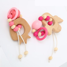 e4a6c2c4fa2b9b Nuovo 1 pz Bambino di Cura Bracciali Perline di Legno Massaggiagengive Crochet  Chew Perline Dentizione Bracciali