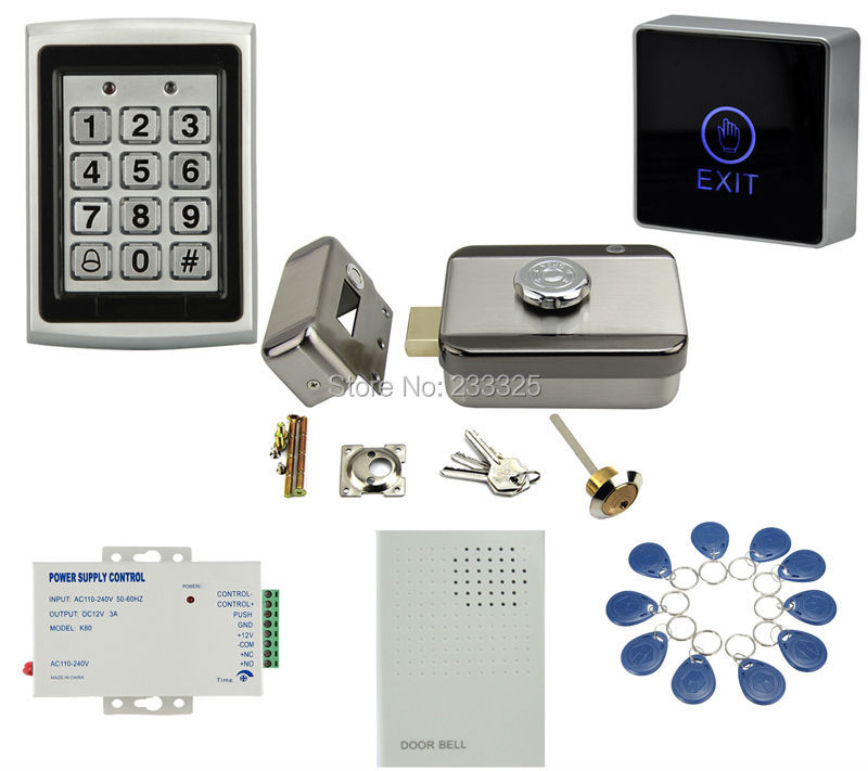 Safety Electric Door Lock 125khz RFID Card Touch Button Metal Case Keypad Door Access Control Kit with 20tags access control lock metal mute electric lock rfid security door lock em lock with rfid key card reader for apartment hot sale