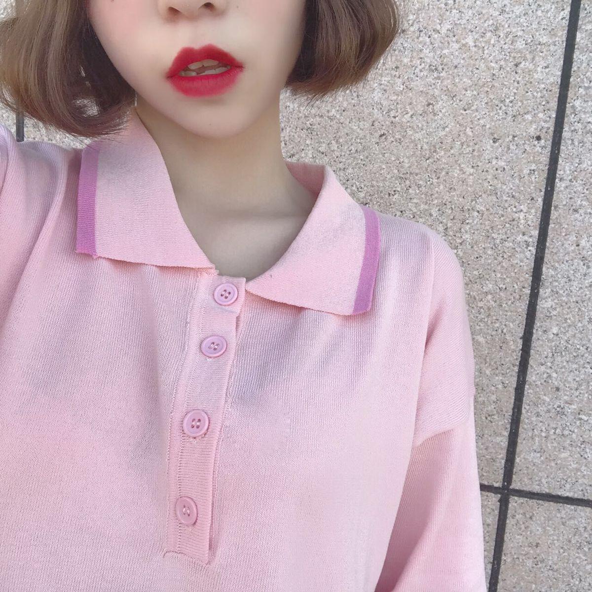 Verano Negro Rosa Vestido de Punto Camiseta Simple Kawaii Chica Mini ...