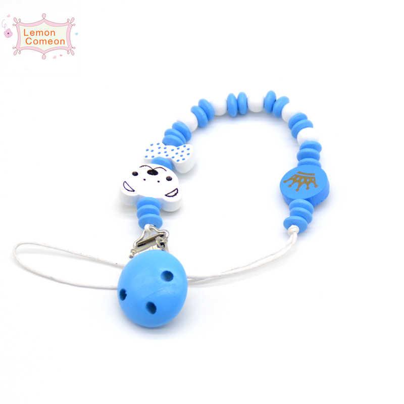 עץ מוצץ קליפ עץ חרוז Dummy קליפ מחזיק כחול כתר מוצץ Soother שרשרות תינוק בקיעת שיניים צעצוע עבור תינוק ללעוס