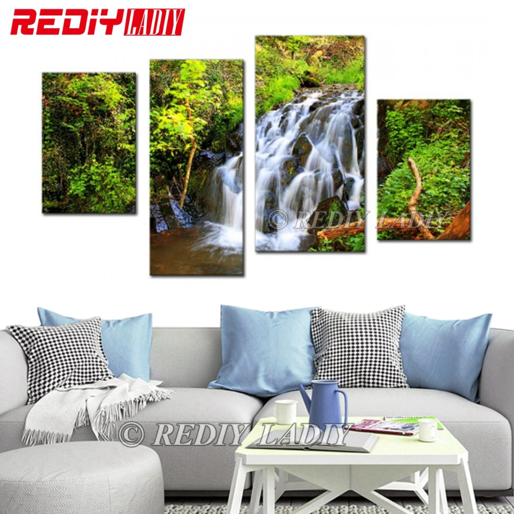 DIY Diamond Painting Cross Stitch Triptych Diamond Mosaic Waterfall 4 Panels Modular Picture Wall Art Crystal Diamond EmbroideryDIY Diamond Painting Cross Stitch Triptych Diamond Mosaic Waterfall 4 Panels Modular Picture Wall Art Crystal Diamond Embroidery