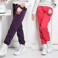 2015 new children's clothing girls fall and winter plus thick velvet trousers children pants casual sports pants children