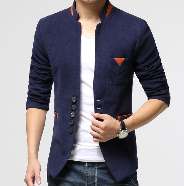 041c54b8e96c Men Casual Blazer Autumn 2015 Black navy grey Slim fit Long sleeve ...