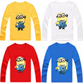 New kids T-Shirt Despicable Me 2 Minions Boys Clothes Girl Long Sleeve T Shirts Design Children Tops cotton Tees white blue