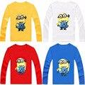 Nuevos niños de La Camiseta Despicable Me 2 Minions Niños Ropa de La Muchacha Diseño de Manga larga Camisetas Niños Remata Camisetas de algodón blanco azul