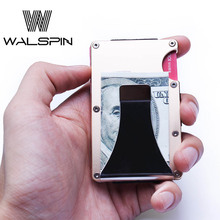 цена на Automatical Aluminum  Mini Slim Male & Female Wallet Rfid Blocking Metal Wallet With Anti-chief ID Credit Card Case Protector