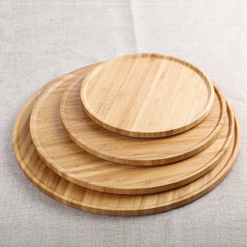 Circle Bamboo tea tray round plate fruit snack cake tableware tray