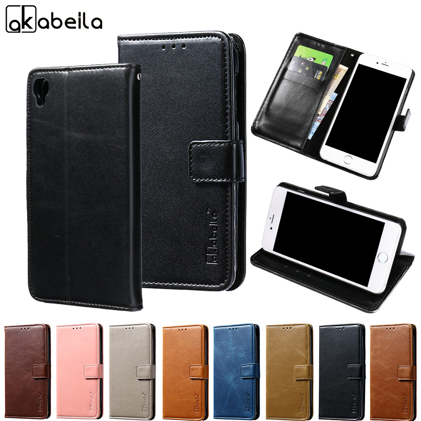 AKABEILA Phone Cover Case For Alcatel OneTouch Idol 3 5.5 inch 6045 one touch idol3 Wallet PU Leather Cases Card Hold Etui CASO