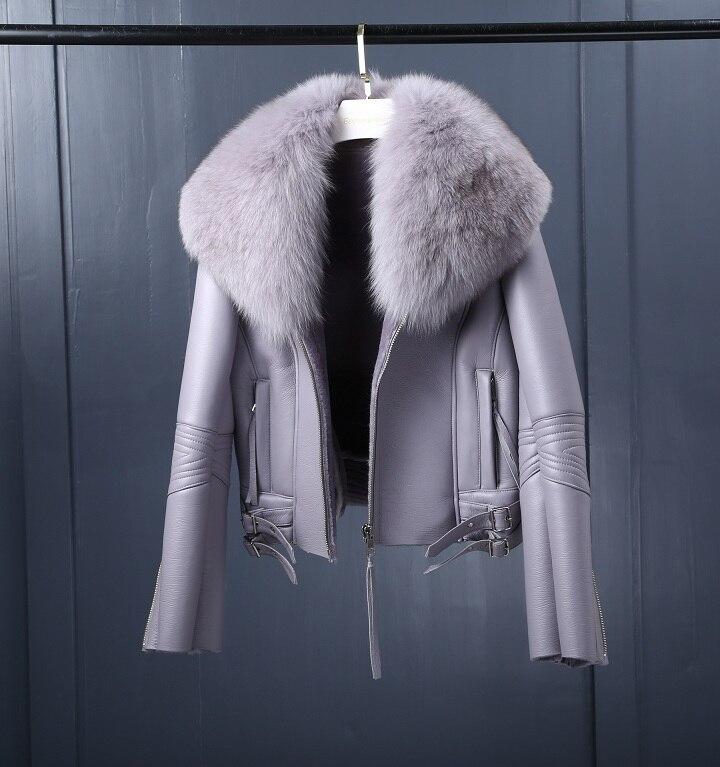 Image 5 - Oftbuy 2020 casaco de pele real casaco de inverno feminino natural gola de pele de raposa forro de lã real pu couro falso grosso quente streetwearPele verdadeira   -