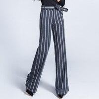 Шерстяные широкие брюки женские 2018 осенние и зимние новые длинные брюки полосатые шерстяные прямые брюки с высокой талией женские