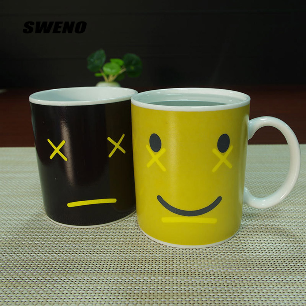 SWENO Creative Styles Monday Good Morning Milk Cup,Color Changing Cup Ceramic Discoloration Coffee Tea Milk Mugs Novelty Gifts