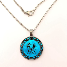 Gemini Zodiac Horoscope Blue Moon Background Glass Dome Pendant Glass Cabochon Pendant Necklace For Women Men Quote Jewelry Gift александр невзоров horoscope for gemini