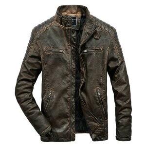 Image 1 - באיכות גבוהה פו עור מעיל גברים בציר סתיו חורף חדש מעיל אופנוע גברים עסקים מקרית Mens Biker מעיל מעיל