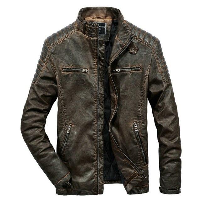 באיכות גבוהה פו עור מעיל גברים בציר סתיו חורף חדש מעיל אופנוע גברים עסקים מקרית Mens Biker מעיל מעיל