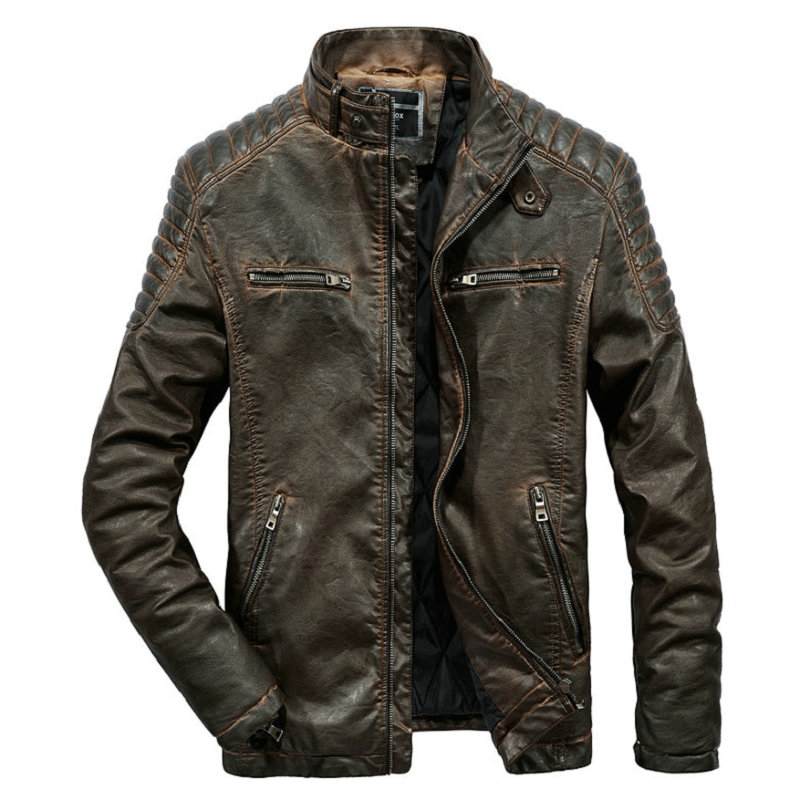 High Quality Faux Leather Jacket Men Vintage Autumn Winter New Motorcycle Jacket Men Business Casual Mens Biker Jacket Coat