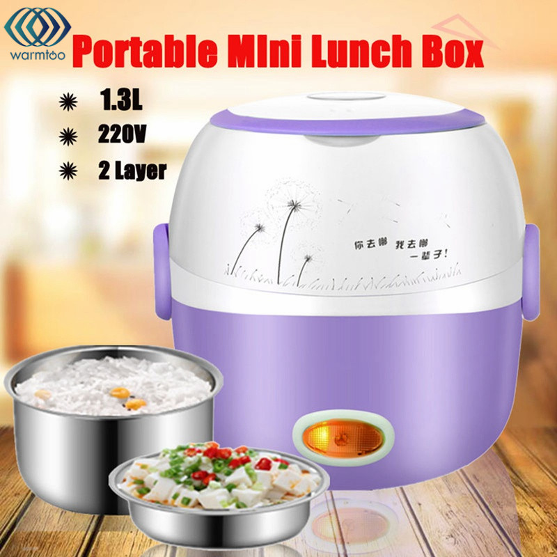 Mini Electric Lunch Box Portable Rice Cooker Steamer 220V 1.3L 2 Layer Stainless Steel Heating Device Kitchen Picnic Containe cukyi household electric multi function cooker 220v stainless steel colorful stew cook steam machine 5 in 1