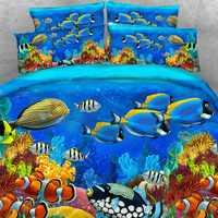 Goldeny 4 Parts Per Set Tropical Fish and Coral Reef 3d marine bedding set Popular Children Bedding Sets
