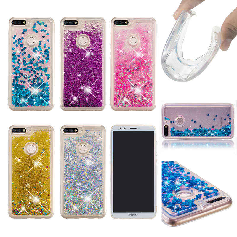 2104f81bb58 For Huawei Honor 7C 5.99   Case Soft TPU Dynamic Liquid Glitter Bling Sand Case  For Huawei Enjoy 8 Y7 Y7 Prime 2018 Cover