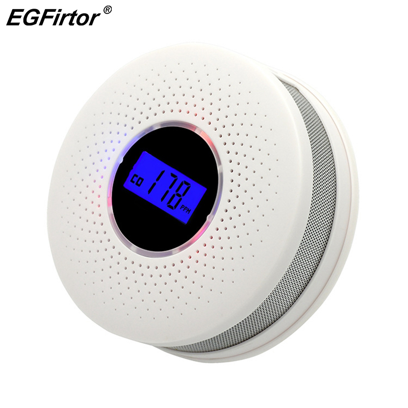 2 In 1 Home Security Smoke and Carbon Monoxide Detector Alarm 85dB Battery Co Detector with Sound Warning and Digital Display