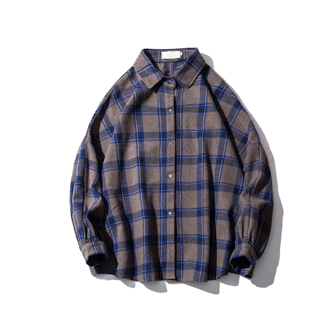 LAPPSTER Men Harajuku Color Block Plaid Shirt 2020 Mens Streetwear Thick Shirts Long Sleeve Male Vintage Korean Fashions Clothes 9