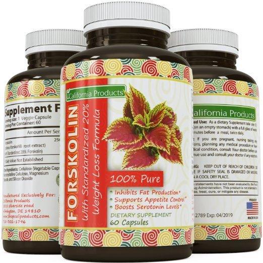 100% Pure Forskolin Extract 60 Capsules (Best Coleus Forskohlii) - Highest Grade Weight Loss Supplement for Women & Men