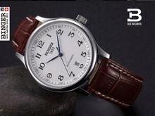 Pulsera BINGER negocio Relojes Mecánicos de zafiro completa de acero inoxidable relojes de los hombres 300 M Resistencia Al Agua BG-0379