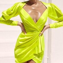 Sexy Asymmetric Ruched Neon Green Short Summer Dress for Women 2019 Lantern Sleeve Criss Cross Stylish V neck Party Club Dress sexy cut out criss cross club dress