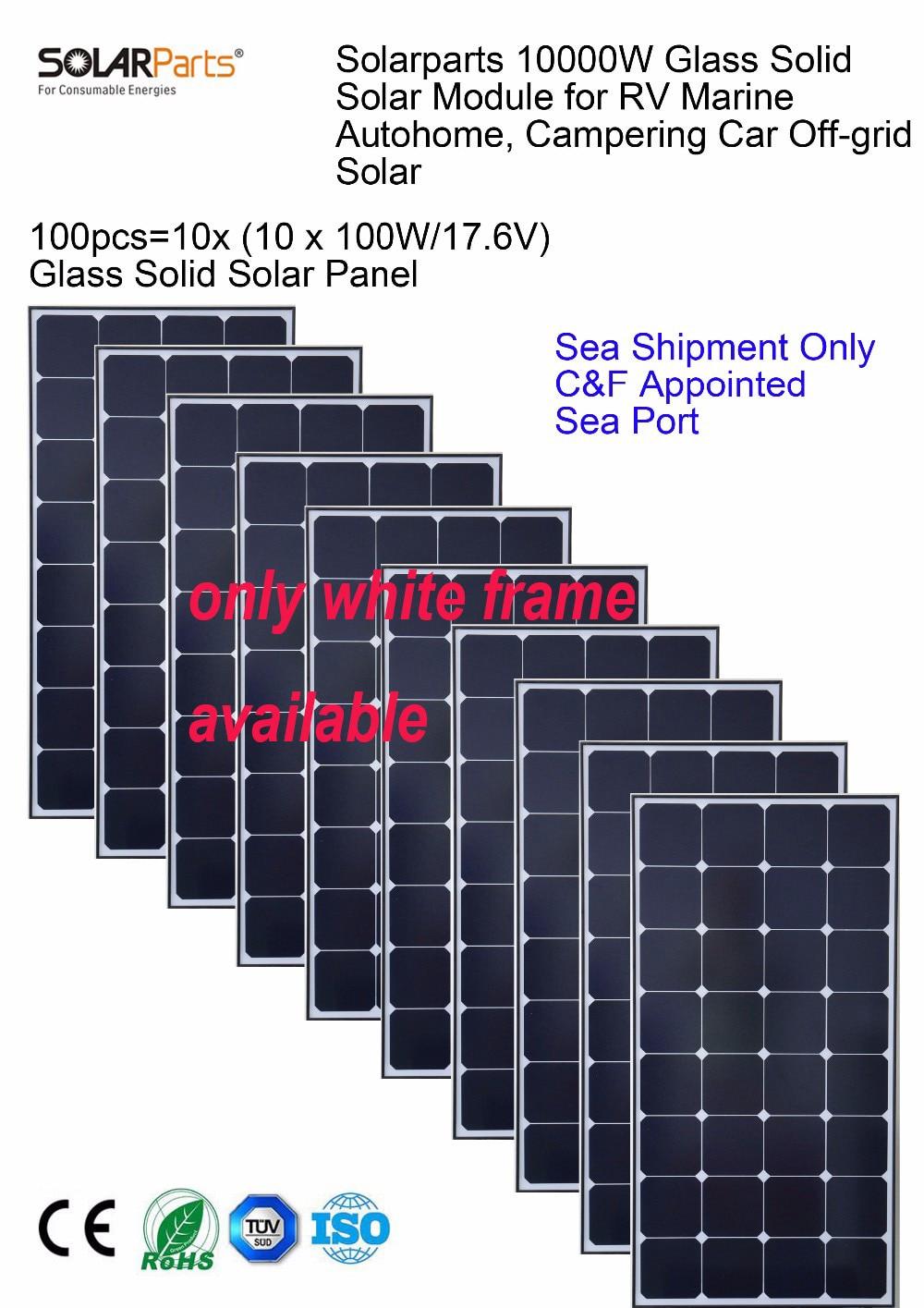 Solarparts 10x 100W monocrystalline solar module high efficiency back contact solar panel cell system 12V DIY kit RV off-grid .