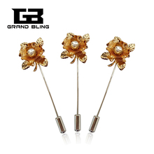 New Arrival Golden Flower Lapel Pin Hijab Pins