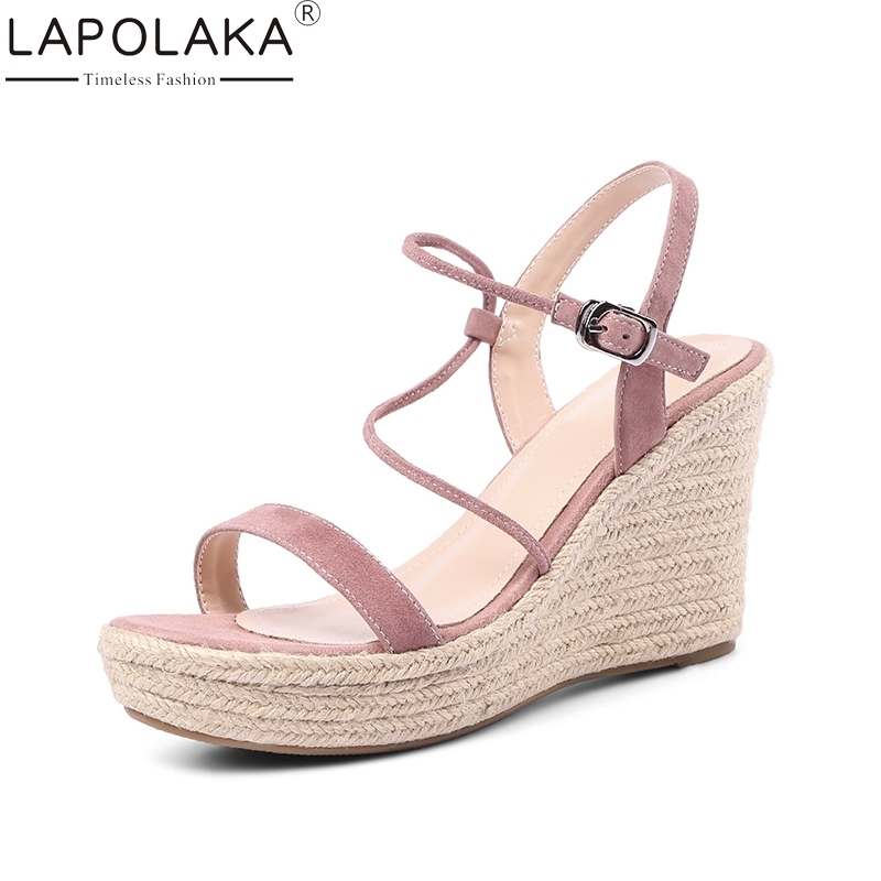 LAPOLAKA Kid Suede Genuine Leather Wedges High Heel Woman Shoes Cross Strap Platform Women Shoes Summer Sandals new women sandals low heel wedges summer casual single shoes woman sandal fashion soft sandals free shipping
