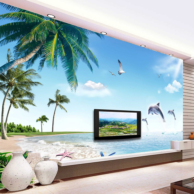 Online buy wholesale dolphin wall mural from china dolphin for Dolphin wall mural