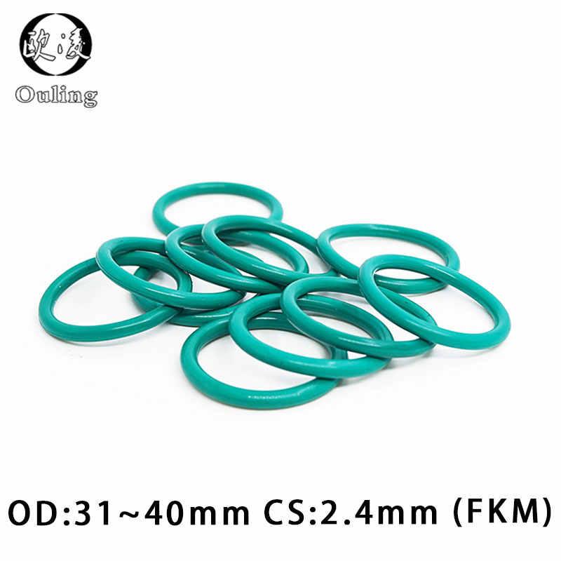 5 ชิ้น/ล็อตแหวนยางสีเขียว FKM O ring Seal CS2.4mm OD31/32/33/34/35/ 36/37/38/39/40 มม. ยาง O - แหวนน้ำมันปะเก็นเครื่องซักผ้า