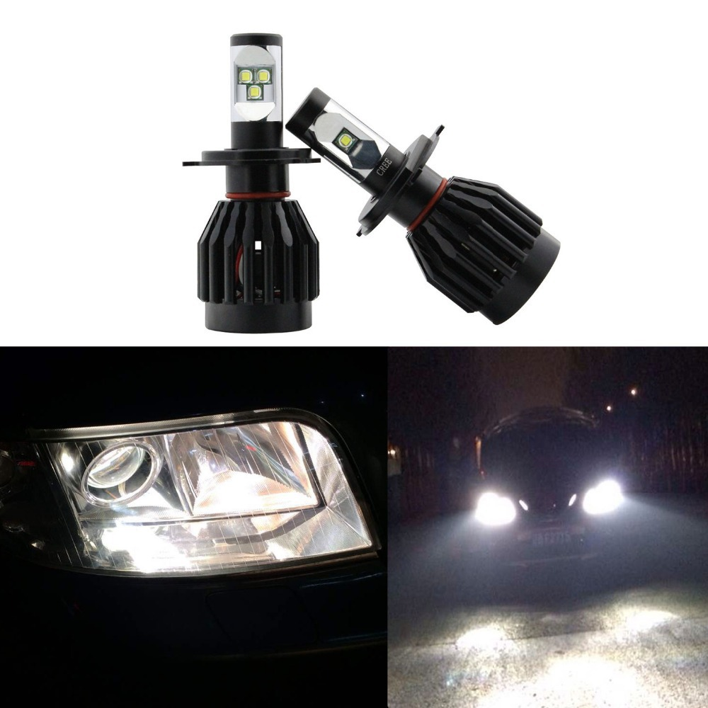 All In One Canbus 80W 8000LM CREE Chip LED H4 Hi & Lo Beam Headlight Conversion Kit 6000k White with integrated heat dissipation