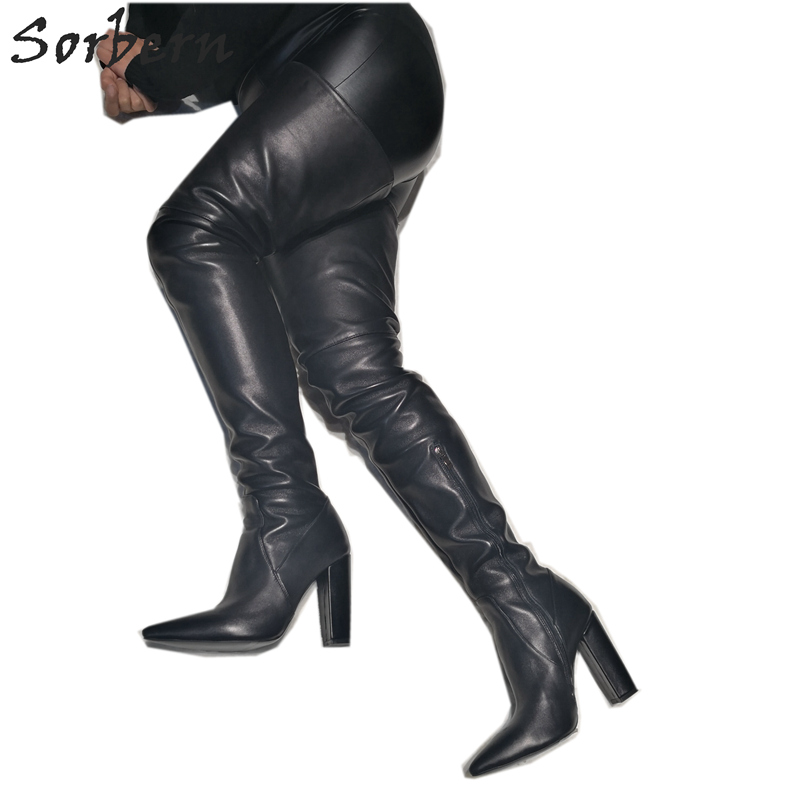 Womens Ladies Over The knee Thigh High Block heel Long Black Boots Shoes Size