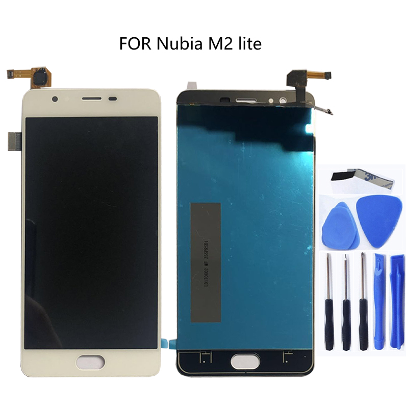 100% tested 5.5''FOR zte nubia M2 Lite M2 youth new NX573J full LCD display + touch screen digitizer component black white-in Mobile Phone LCD Screens from Cellphones & Telecommunications