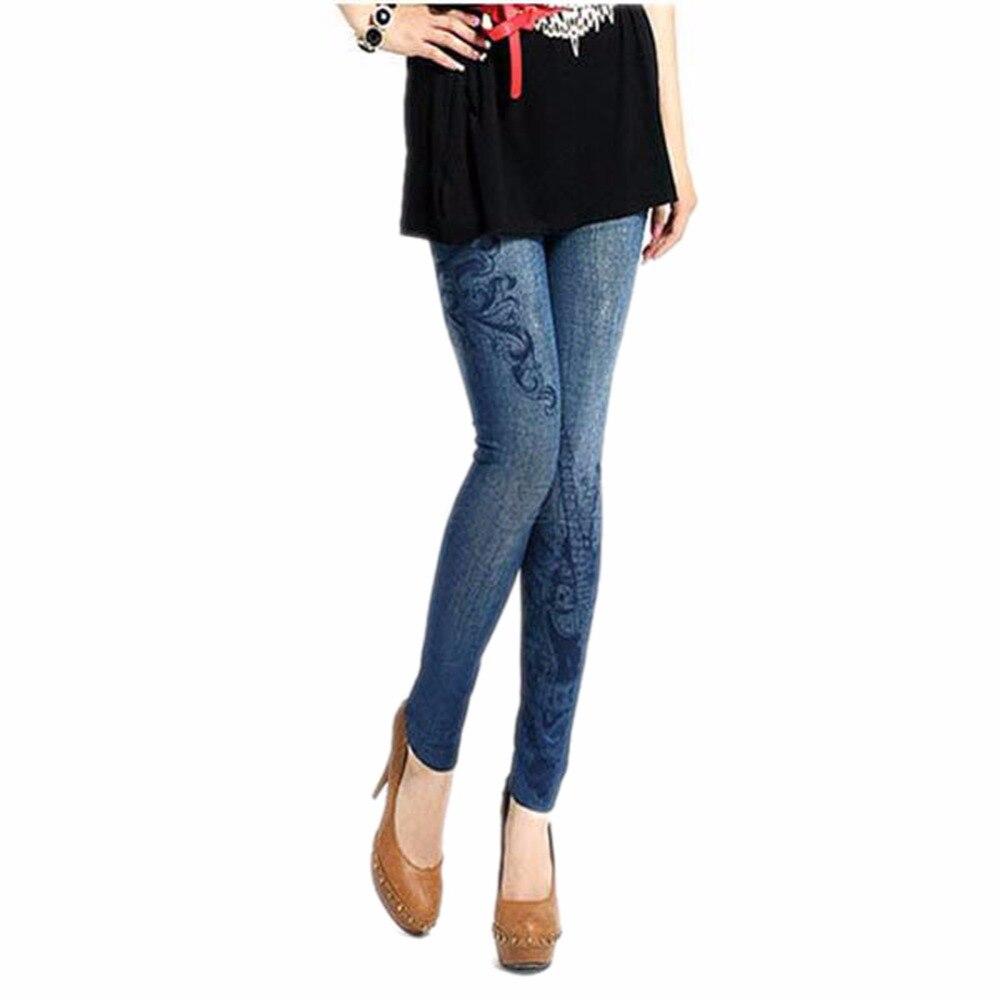 Sexy Women Stretch Faux Denim Jeans Leggings Skinny Slim  Women Leggings 2017 Womens Clothing