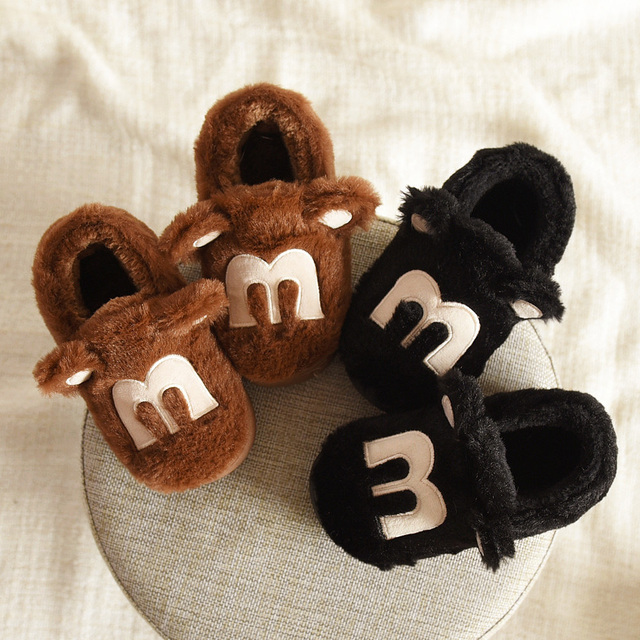 New winter kids slippers slip resistant warm soft children household shoes cartoon thicken plush cotton shoes for boys girls
