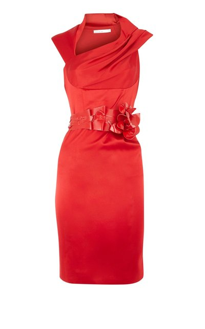 Retail red Orchid corsage fitted dress ladies' Dress cocktail/formal/party/evening Dress DM035 -Free Shipping