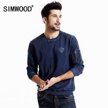 Simwood Herbst Chic Entwickelt Rundhals Pullover Reißverschluss Verzierte Langarm Männer Sweatshirt WY8014
