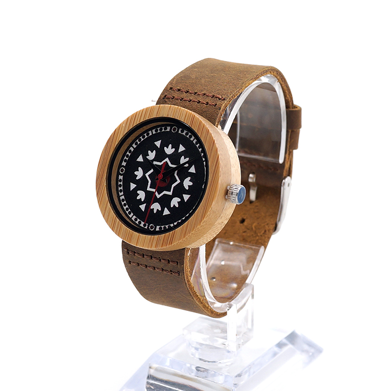 ФОТО BOBO BIRD J16 Relojes Mujer Nature Bamboo Quartz Watch UV Priting Irregular Shape Pattern Dial Face Wristwatch With Leather Band