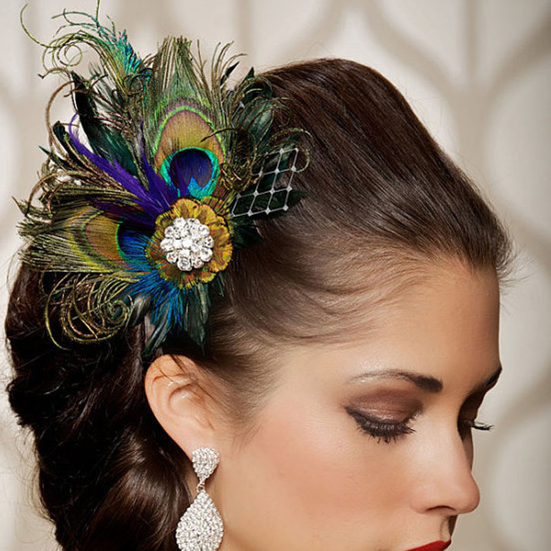 Tocado Novia2020 New Peacock Feather Bridal Head Flower Wedding Headdress Mesh Yarn Bridal Hat