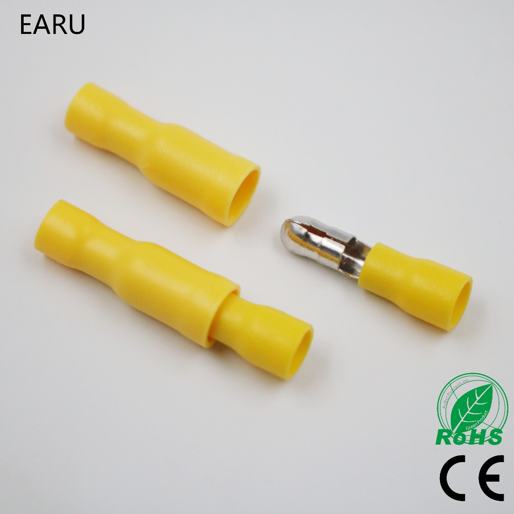 50pcs Yellow Male Female Bullet Insulated Connector Crimp Terminals Wiring Cable Plug FRD5.5-195 FRD5-195 MPD5.5-195 MPD5-195