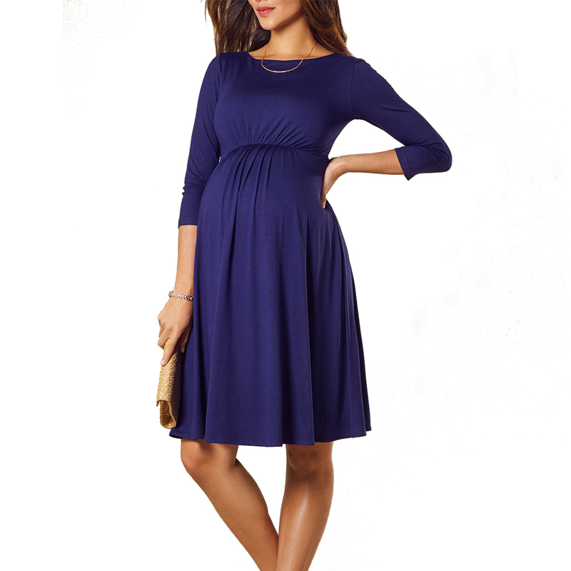 Summer A-Line Tencel Maternity Dresses for Pregnancy Spring O-Neck Blue Pregnancy Dress Clothes Women Vestidos Euro Size S-3XL все цены