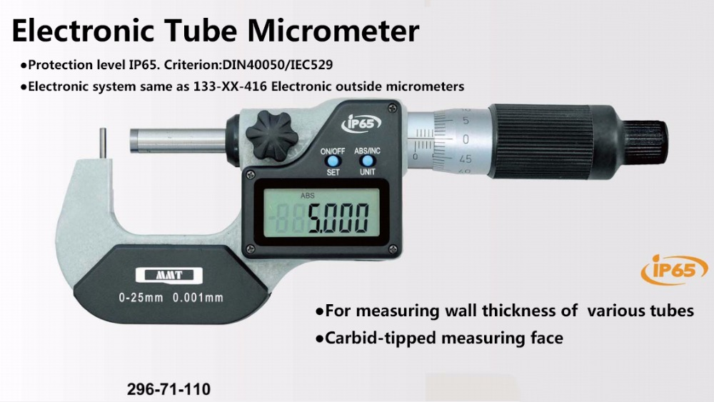 IP65 0.001mm waterproof Type A B C D E F tube electronic micrometer  0-25mm 25-50mm digital tube micrometer